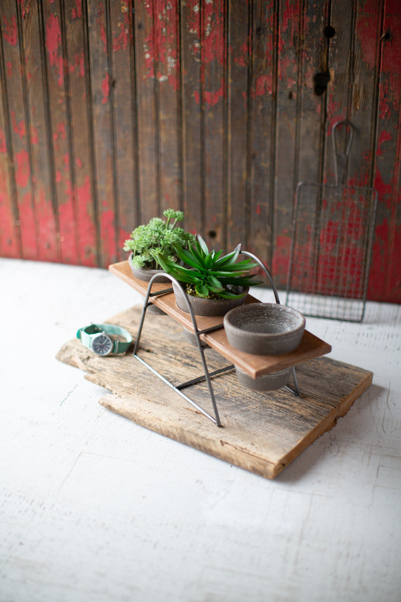 Wood & Wire Base with 3 Grey Clay Pots