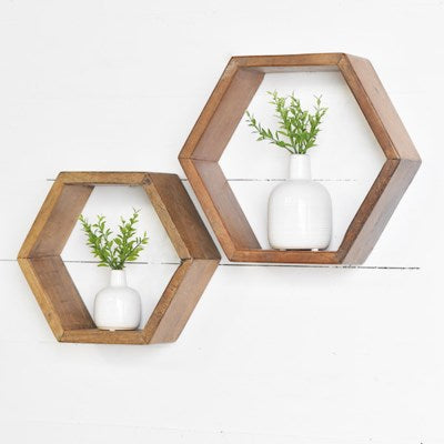 Hexagon Wood Shelf 2 Sizes