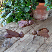 Rusty Metal Bug Sculptures Set of 3