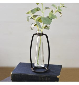"Industrial Stem Vase - 7"" Rd Bottle"