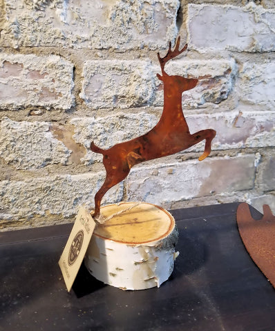 "Leaping Woodland Deer 6"" on Birch Base"