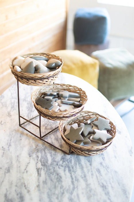 Three Tiered Display Basket with Metal Stand