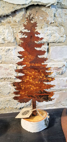 "Rusted Metal Woodland Tree 8"" on Birch Base"