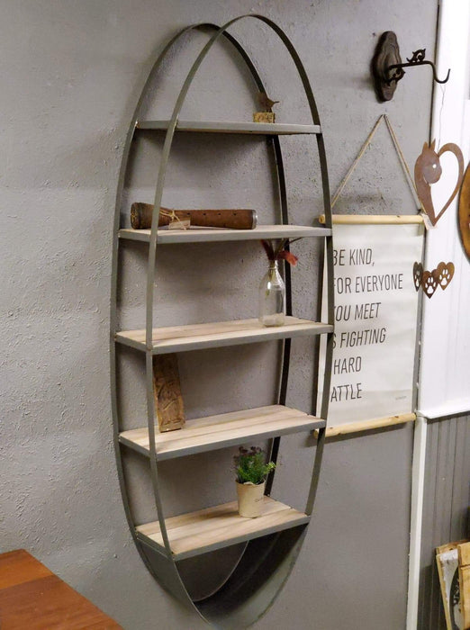 Metal and Wood Oval Wall Shelf