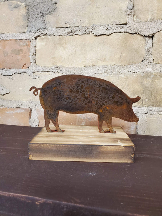 Rusted Metal Pig on Wood Base - Small