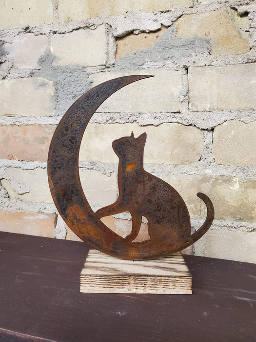 Rusty Metal Cat on Moon on Wood Base