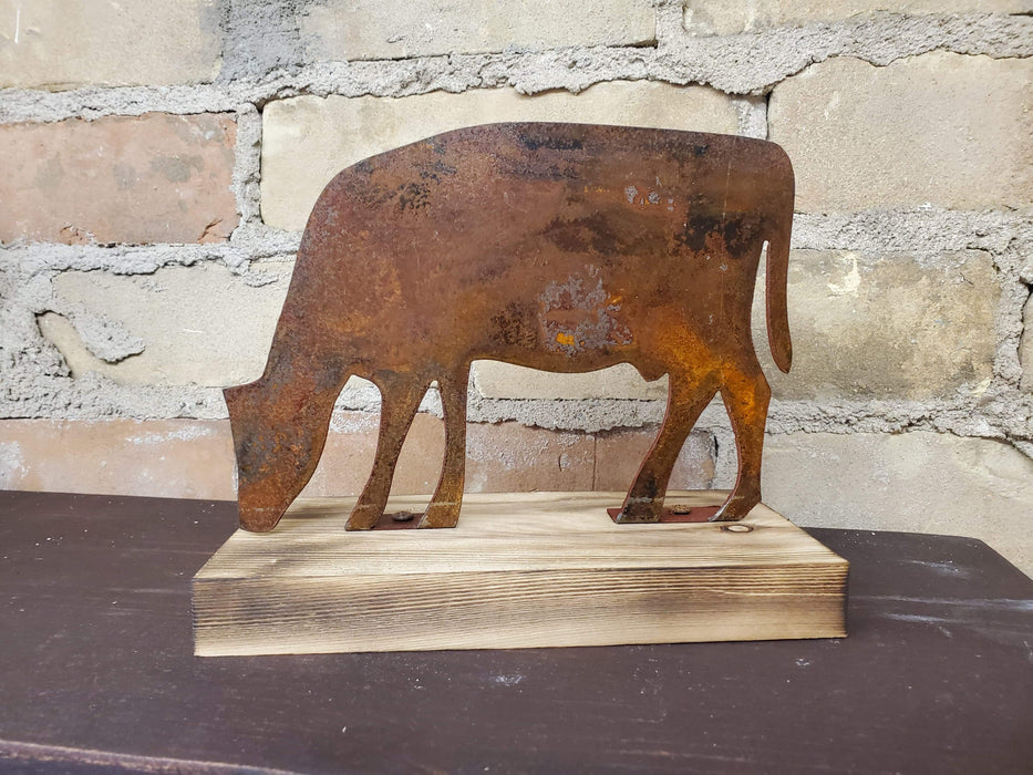 Rusted Metal Grazing Cow on Wood Base