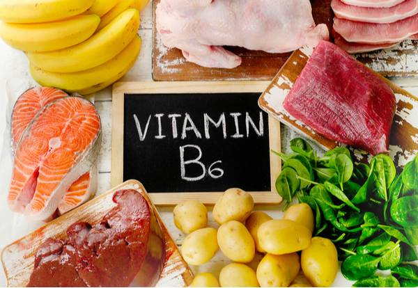 A variety of foods with vitamin B6 (pyridoxine)