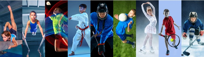 Collage of 9 childrens in sport and healthy lifestyle. Hockey, gymnastick, badminton, football, soccer, tennis, figure skating, athletics, taekwondo.