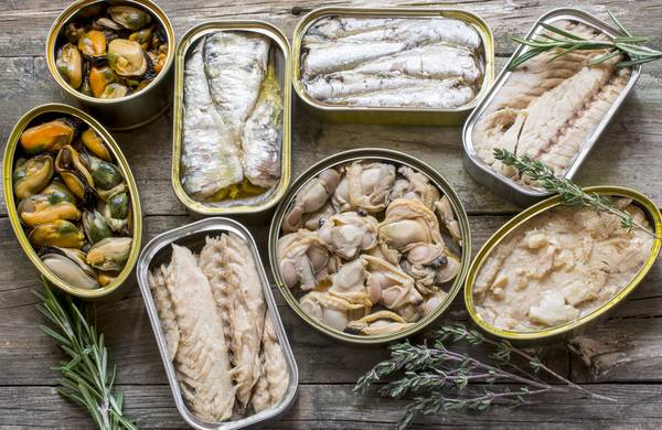 Different canned fishes