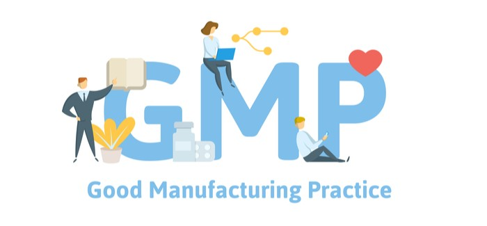 GMP, Good Manufacturing Practice. Concept with keywords, letters and icons