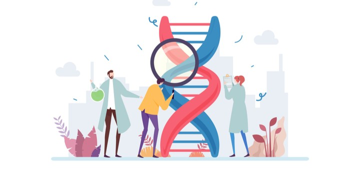 Group of scientist investigating DNA