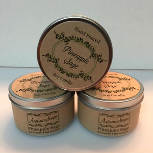 Pineapple Sage Soy Candle - Artisan Soaps