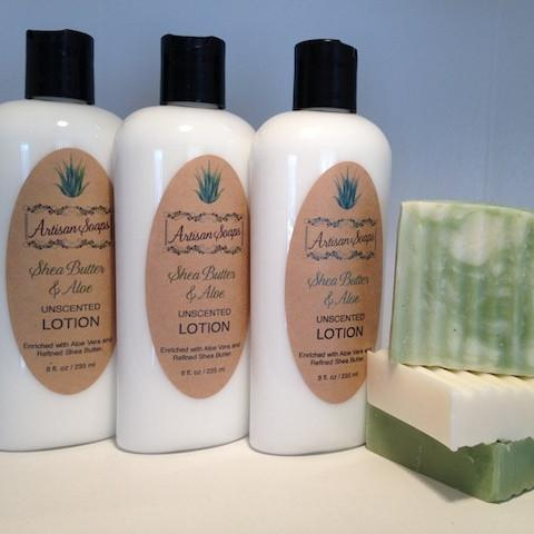 Unscented Shea Butter & Aloe Lotion - Artisan Soaps