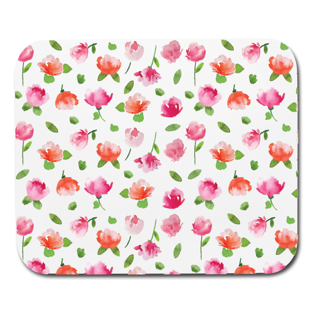 Floral Mouse Pad - white