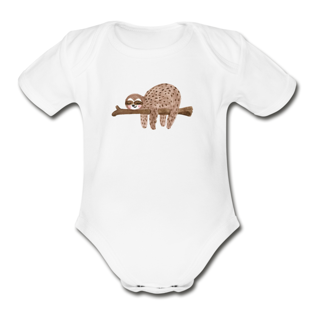 Sleepy Sloth Organic Short Sleeve Baby Bodysuit - white