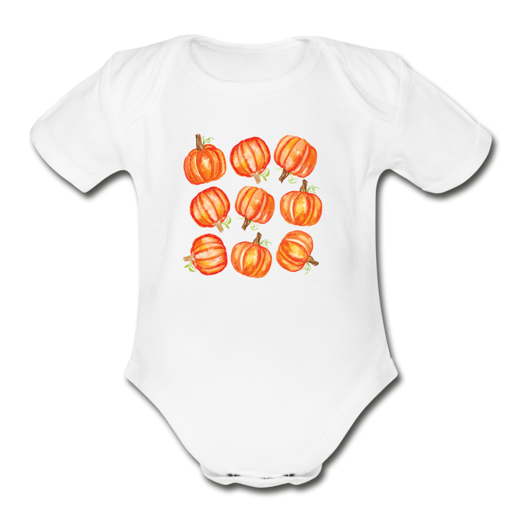 Pumpkin Organic Short Sleeve Baby Bodysuit - white
