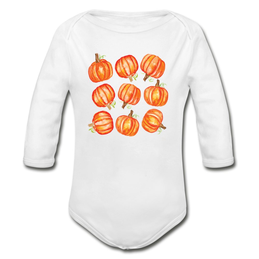 Pumpkin Organic Long Sleeve Baby Bodysuit - white
