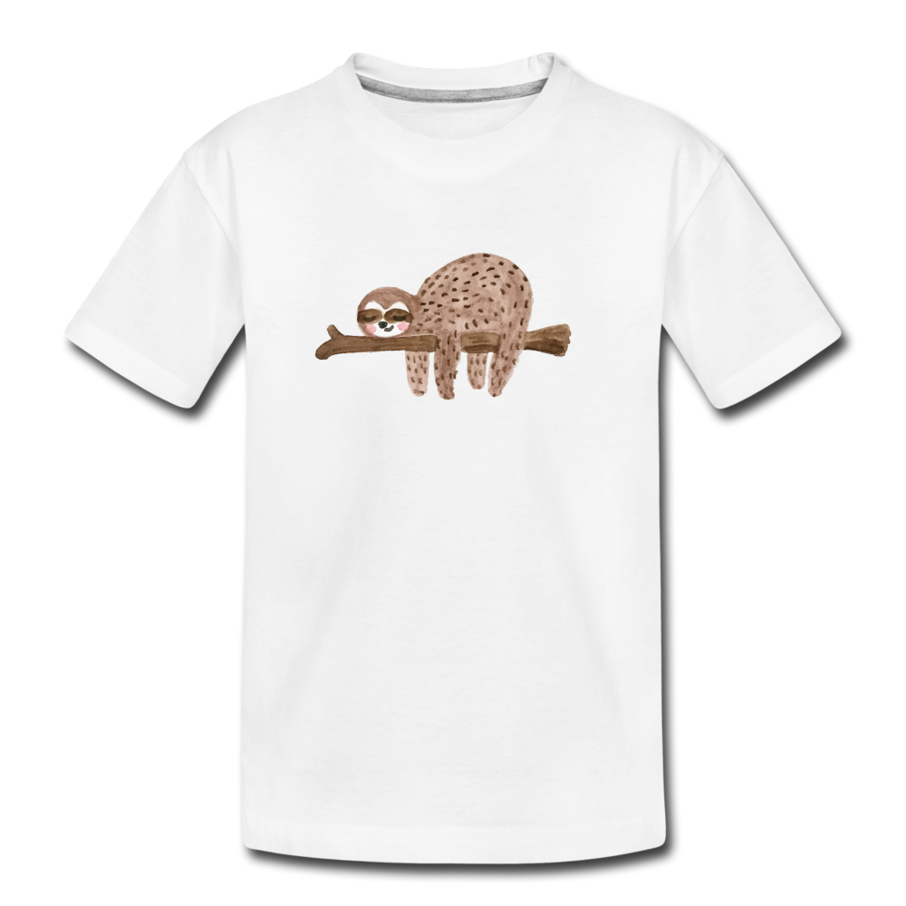 Youth Sloth Organic T-Shirt - white