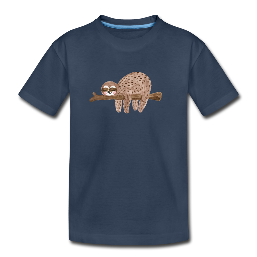 Youth Sloth Organic T-Shirt - navy