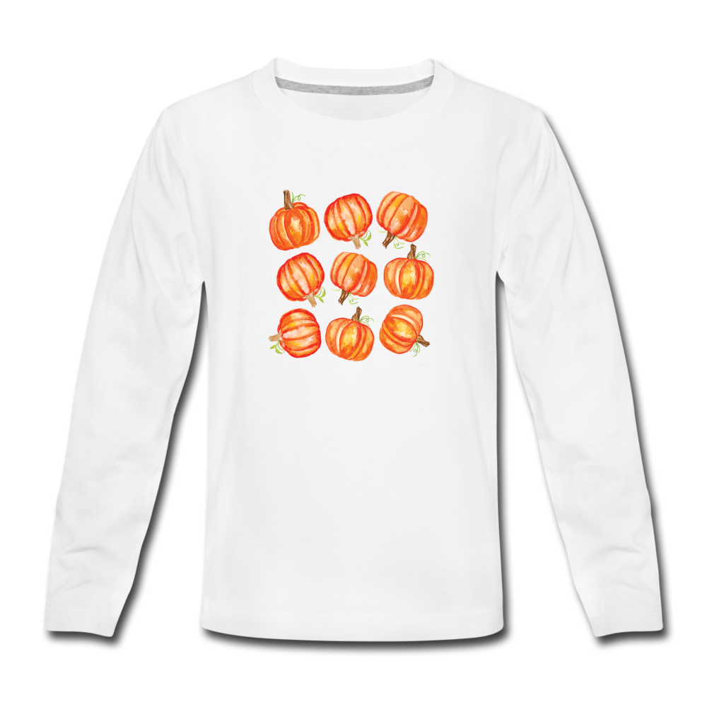 Youth Pumpkins Long Sleeve T-Shirt - white