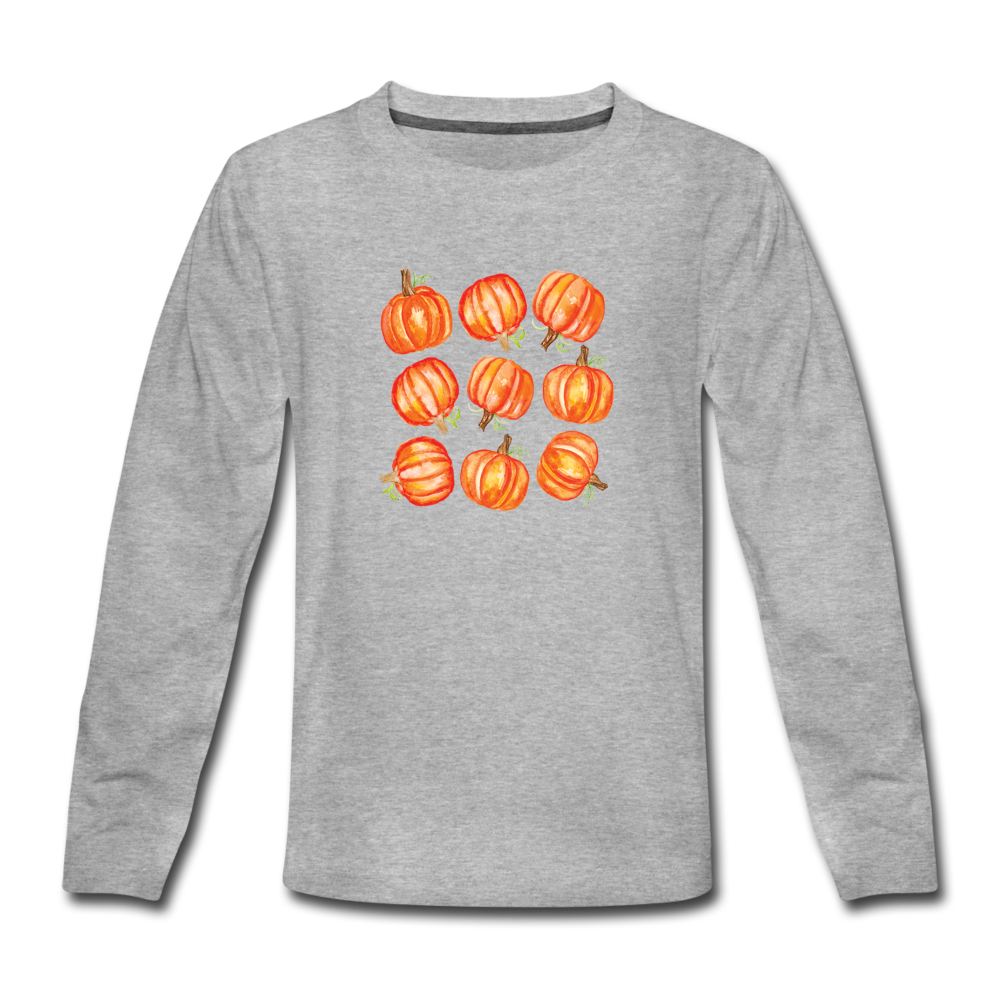 Youth Pumpkins Long Sleeve T-Shirt - heather gray