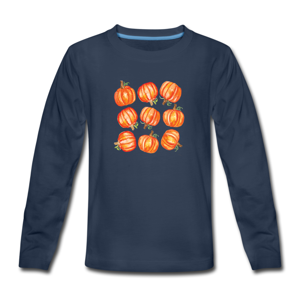 Youth Pumpkins Long Sleeve T-Shirt - navy