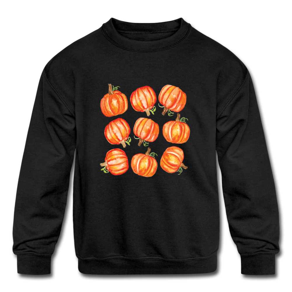 Kids' Crewneck Pumpkin Sweatshirt - black