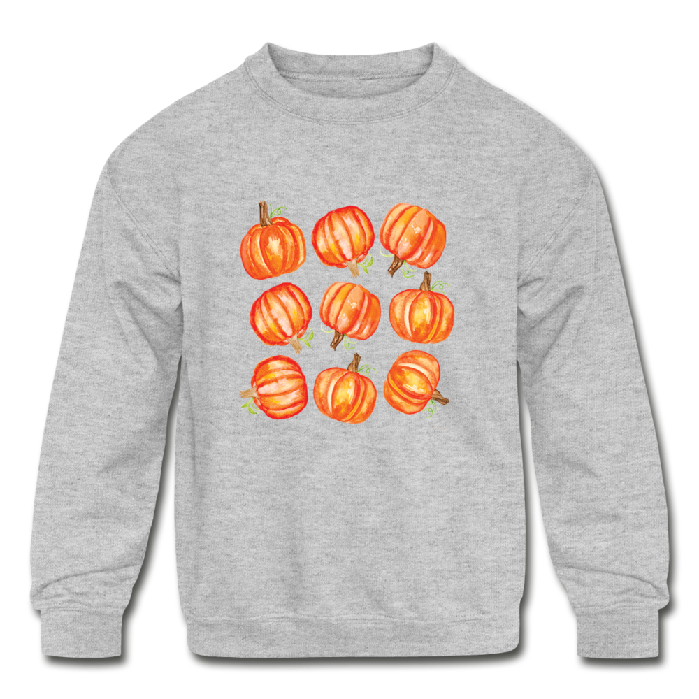 Kids' Crewneck Pumpkin Sweatshirt - heather gray
