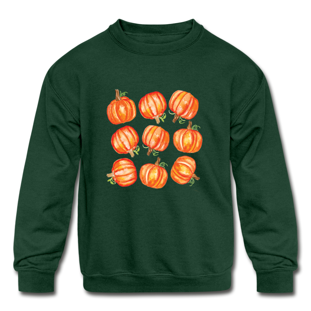 Kids' Crewneck Pumpkin Sweatshirt - forest green