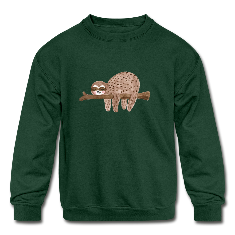 Kids' Sloth Crewneck Sweatshirt - forest green