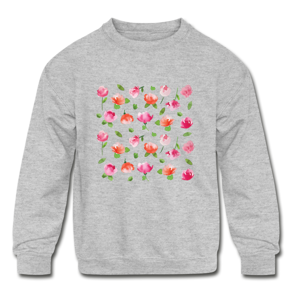 Kids' Floral Crewneck Sweatshirt - heather gray