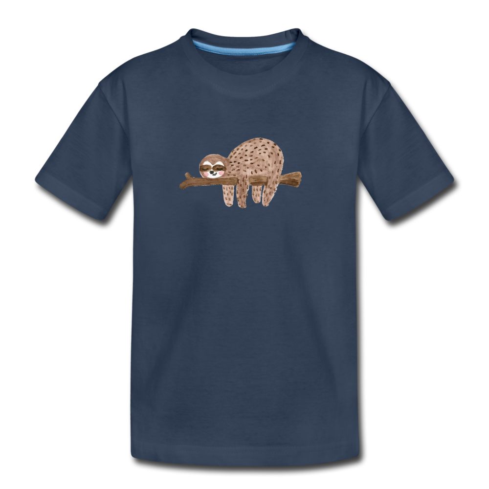 Toddler Sloth Organic T-Shirt - navy