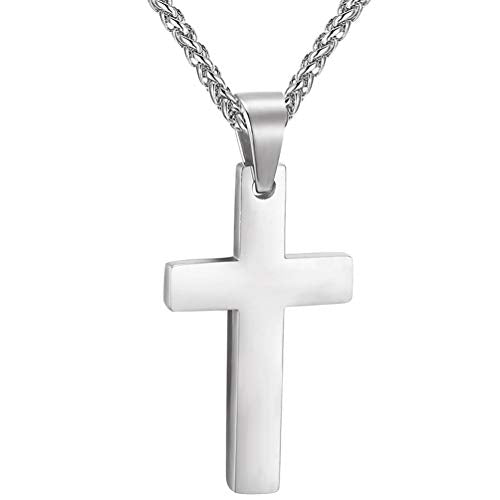 "Stainless Steel Cross Necklaces, Black/18K Gold Plated, Men/Women Jewelry, Christmas Gift, 22""-24"" Adjustable, Come Gift Box"