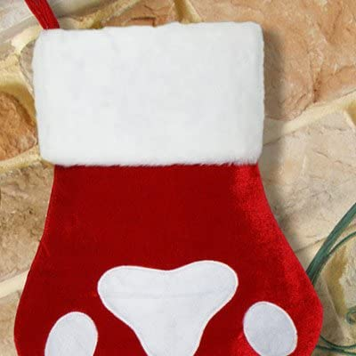 GiftsForYouNow Red Paw Print Personalized Christmas Stocking, Embroidered with Red Thread, 100% Polyester