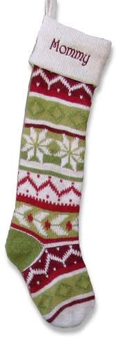 Personalized Knitted Christmas Stockings - Green - Red : White Cuff