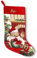 "Lillian Vernon Personalized Heirloom Christmas Stocking – Needlepoint Teddy Bear, 100% Wool, 9.5"" W x 17"" L"