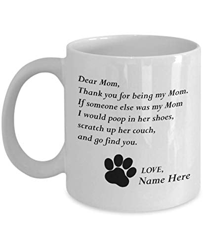 Customizable Personalized Cat Mom & Dad Custom Pet Name Coffee Mug Perfect Gift Idea For Birthday Graduation Christmas Father's Day Mother's Day Gifts From Fur Child Cat Lover Gifts 11oz (C)