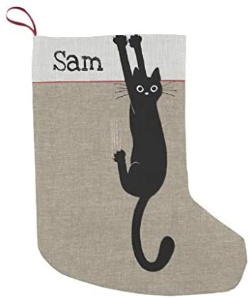 McC538arthy Personalized Christmas Stocking, Black Cat Hanging On Funny Cat Lovers Holiday Small Velvet Custom Christmas Stocking Xmas Stocking Ornaments for Family Decorations