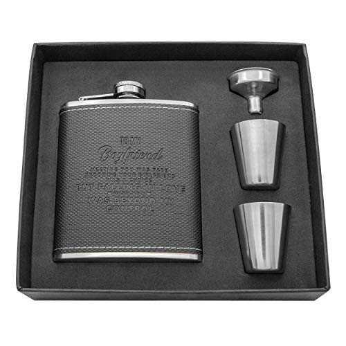 Personalized Flask Set - Engraved Custom Hip Flasks For Dad - Stainless Steel with Leather Flask For Men, Father Day's Valentine's Christmas Gift (Brown-For Dad)