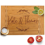 Personalized Cutting Board, 12 Designs & 3 Sizes, Bamboo Cutting Board, Wedding Gifts for Couple, Housewarming Gift & Kitchen Sign - Butcher Block Inlay Board #G