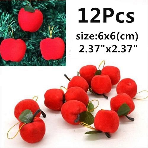 12 Pcs 6cm x 6cm Big Red Apple Hanging Ornaments Christmas Accessories Christmas Tree Apple Pendant Christmas Little Apple