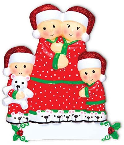 Cozzies Personalized Pajama Family of 4 Christmas Ornament