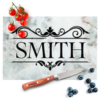 Personalized Kitchen Signs for Couples - 12 Marble Colors, 2 Sizes - Glass Cutting Board - Wedding Gifts for the Couple, Housewarming Gift, Personalized Gifts, Anniversary Gift