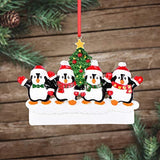 SMYER Penguin Family of 4 Personalize Christmas Ornament,Penguin Christmas Ornaments,Made of Resin