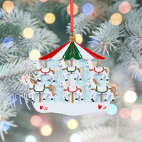 BCSmyer Personalized Christmas Carousel Horse Family Ornaments 2019,Gift Box with Free Personalization Tool Included (Family of 4)