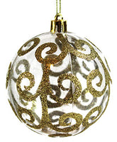 Sleetly Christmas Tree Ball Ornaments, Transparent White Swirl, 3.15 inch, Set of 12
