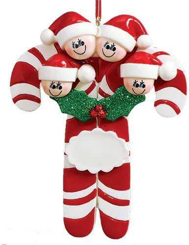 Personalized Candy Cane Family of 4 Christmas Tree Ornament 2019 - Parent Child Friend Red Santa Hat Peppermint Stripe Stick Grandkid Tradition Gift Year - Free Customization (Four)
