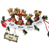 HolidayTraditions Moose Family of 4 Personalized Ornament - Unique Christmas Tree Ornament - Special Keepsake - Custom Family Decoration - Personalization Included