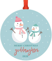 Andaz Press Custom Year Family Metal Christmas Ornament, Merry Christmas Goddaughter 2020, Holiday Snowman Family, 1-Pack, Includes Ribbon and Gift Bag